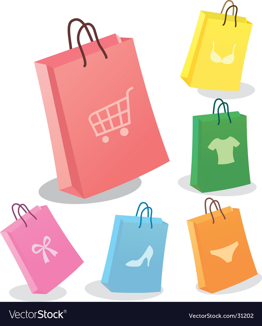 Six shopping bags vector | Price: 1 Credit (USD $1)