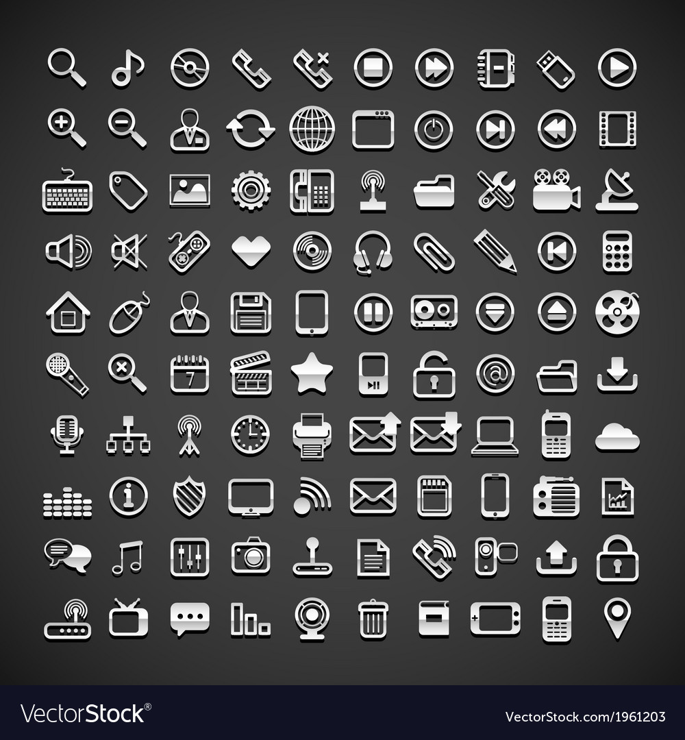 100 flat metallic universal icons vector | Price: 1 Credit (USD $1)