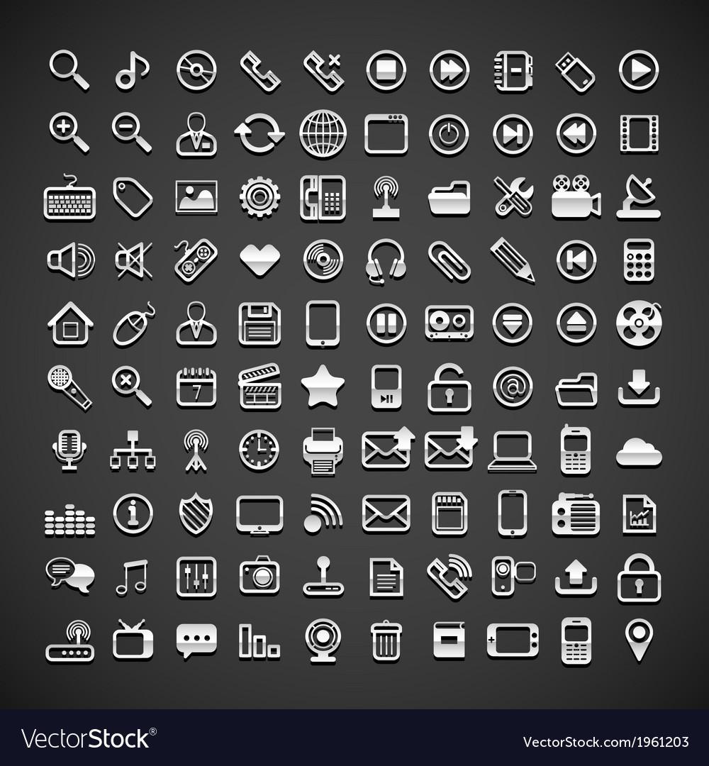 100 flat metallic universal icons vector | Price: 1 Credit (USD $1)