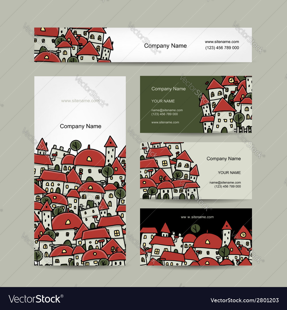 Business cards design cityscape sketch vector | Price: 1 Credit (USD $1)