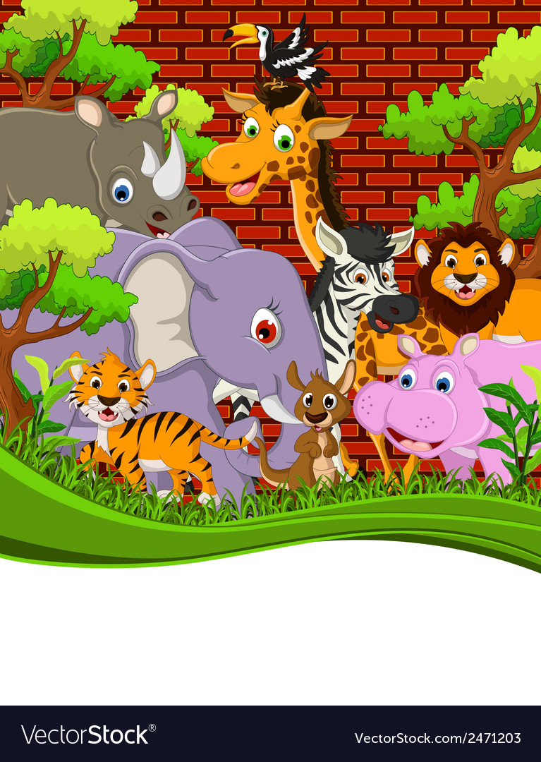 Cute animal wildlife cartoon with blank sign vector | Price: 1 Credit (USD $1)