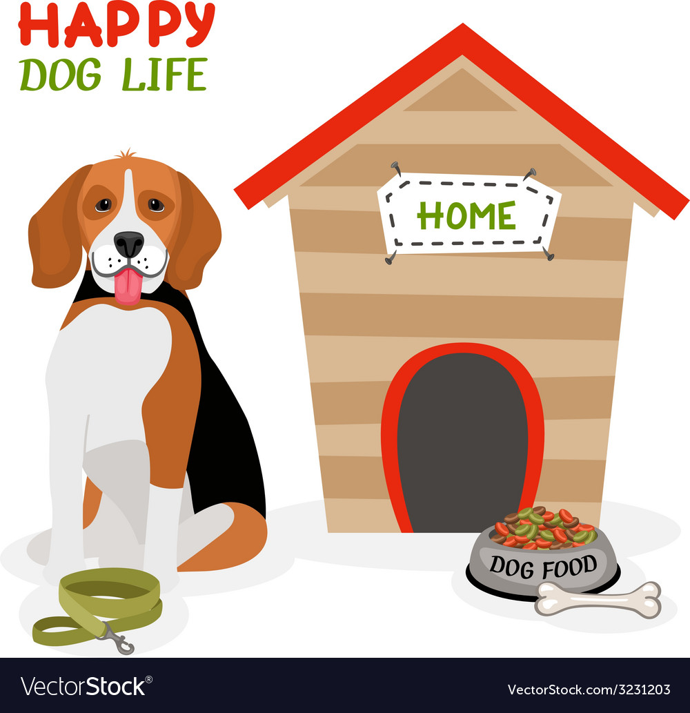 Happy dog life poster design vector | Price: 1 Credit (USD $1)
