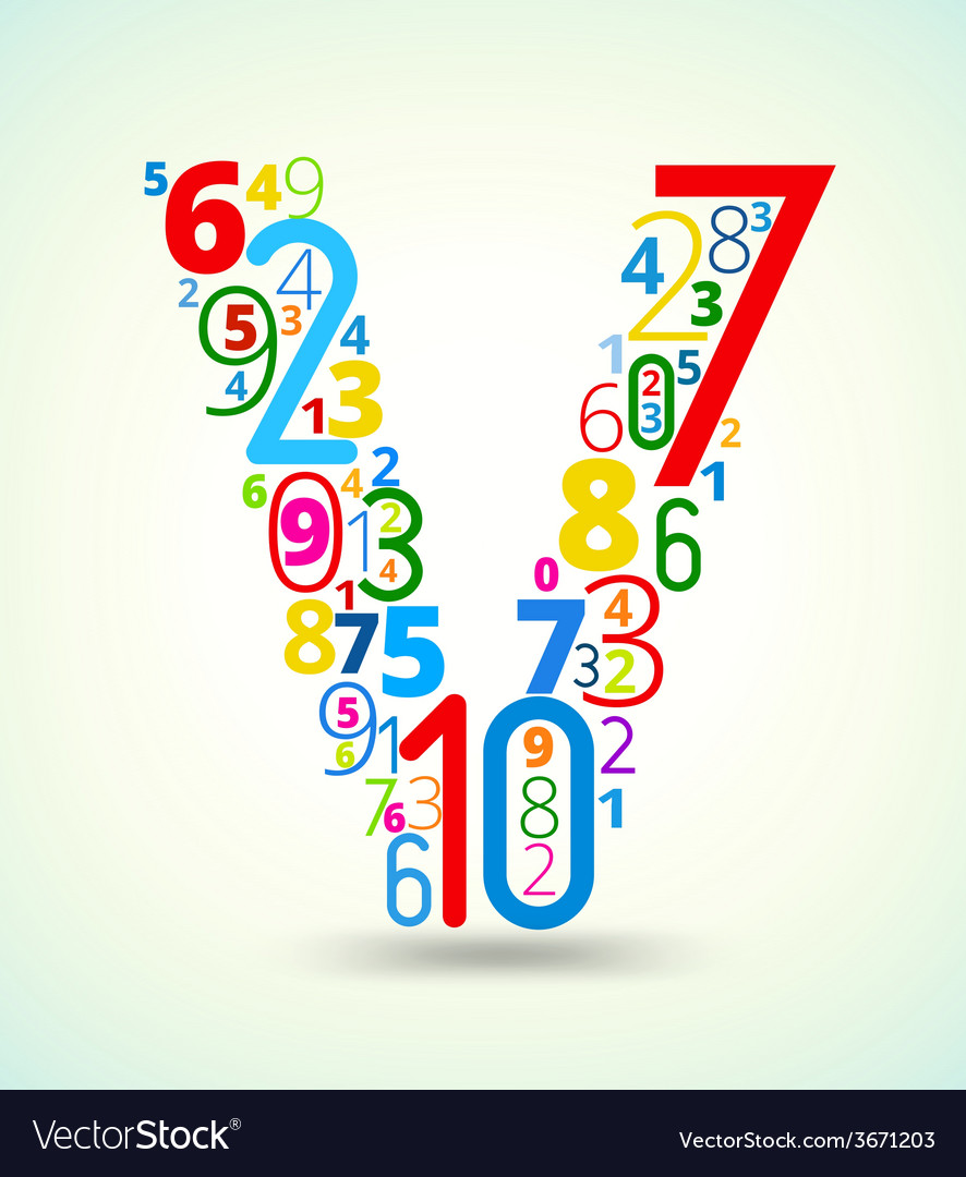 Letter v colored font from numbers vector | Price: 1 Credit (USD $1)