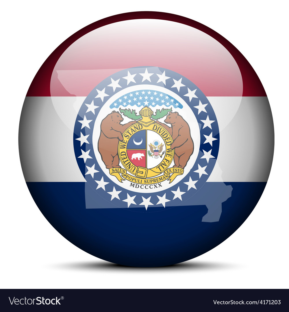 Map on flag button of usa missouri state vector | Price: 1 Credit (USD $1)