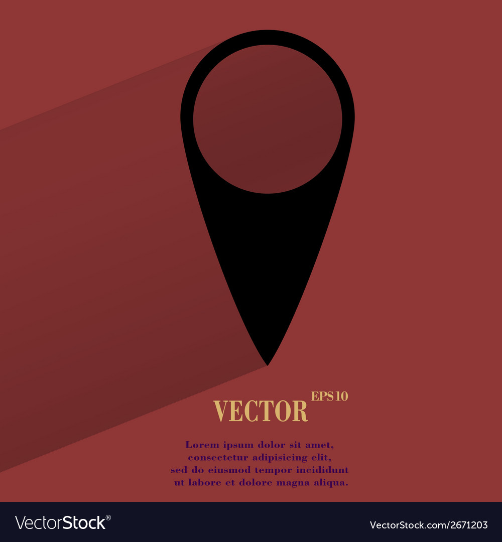 Map pointers flat modern web button with long vector | Price: 1 Credit (USD $1)
