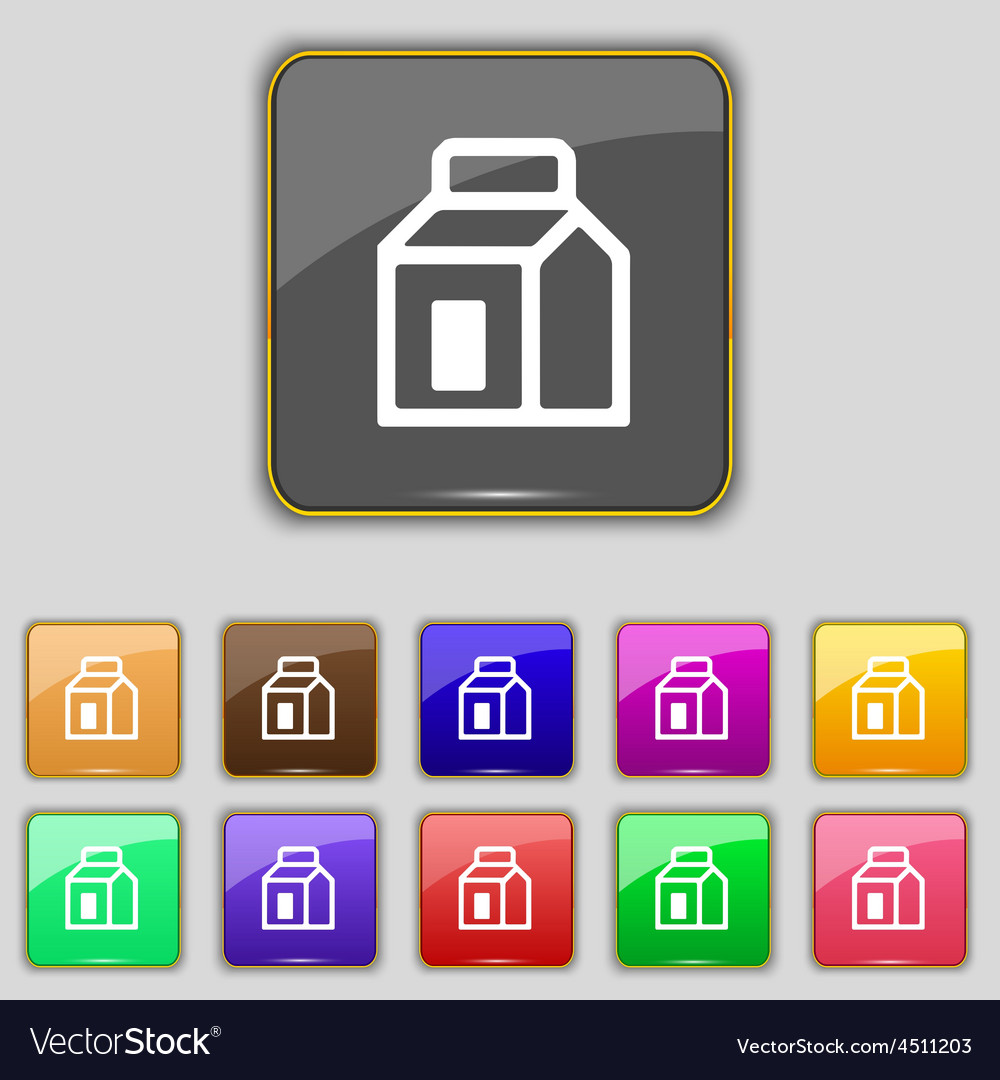 Milk juice beverages carton package icon sign set vector | Price: 1 Credit (USD $1)