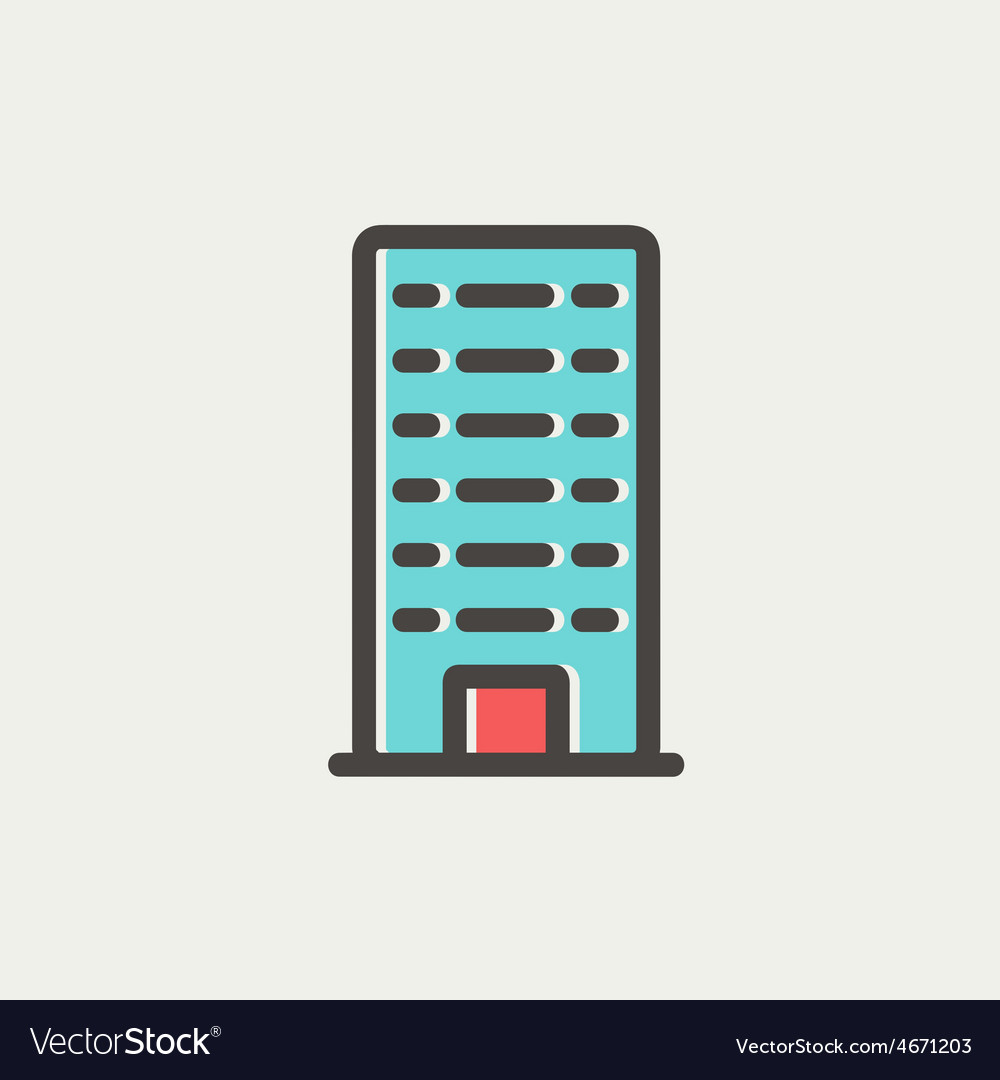 Office building thin line icon vector | Price: 1 Credit (USD $1)