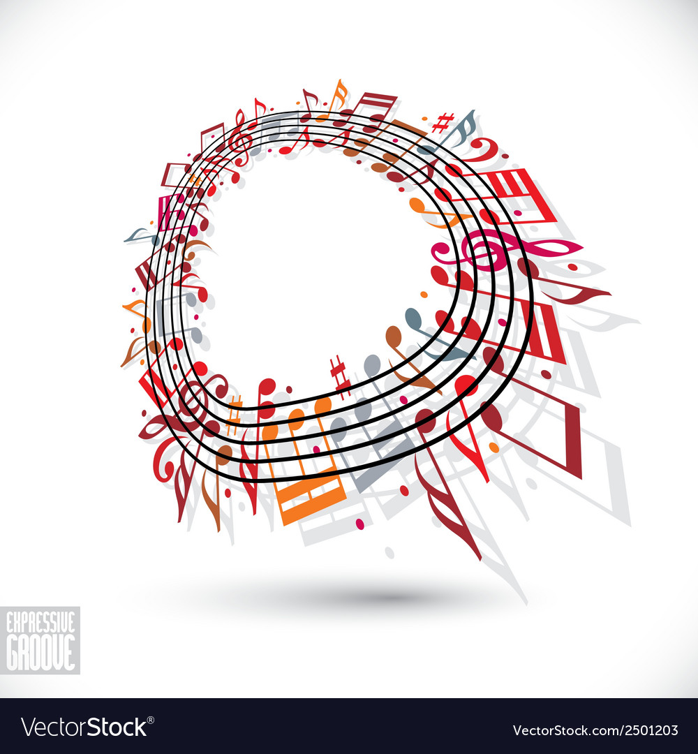 Red music background with clef and notes vector | Price: 1 Credit (USD $1)