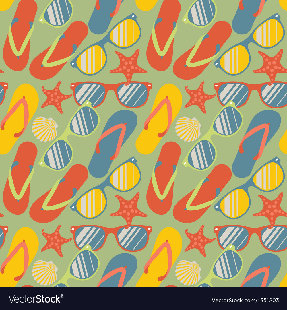 Seamless pattern with flip flops sunglasses and vector | Price: 1 Credit (USD $1)
