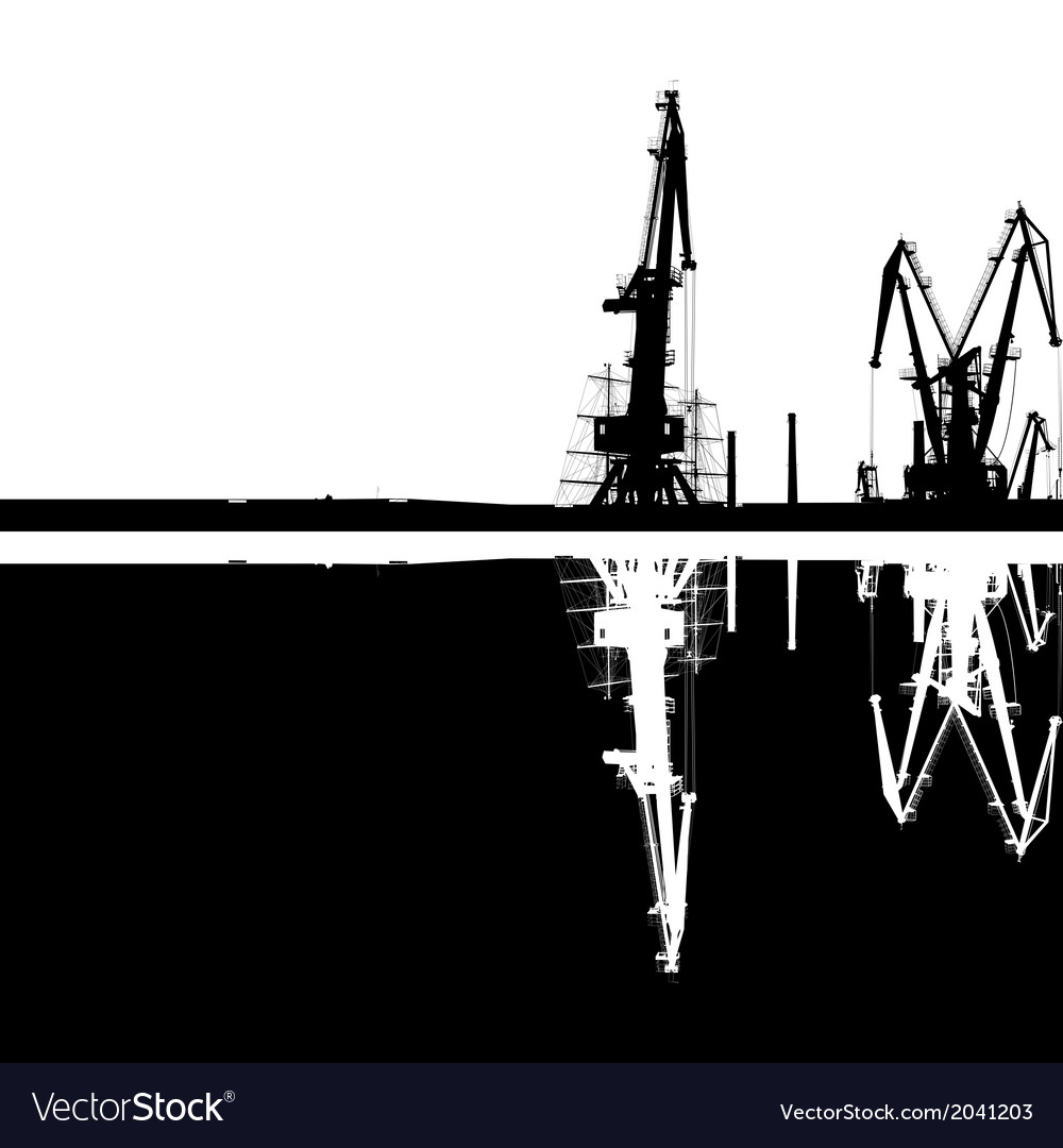 Seaport silhouette reflection vector | Price: 1 Credit (USD $1)