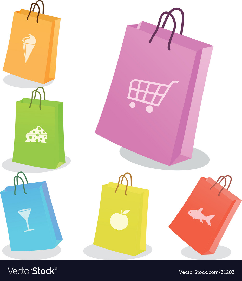 Six shopping bags vector