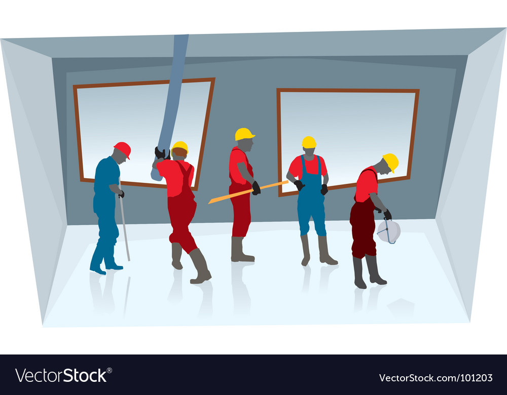 Team of construction workers vector | Price: 1 Credit (USD $1)