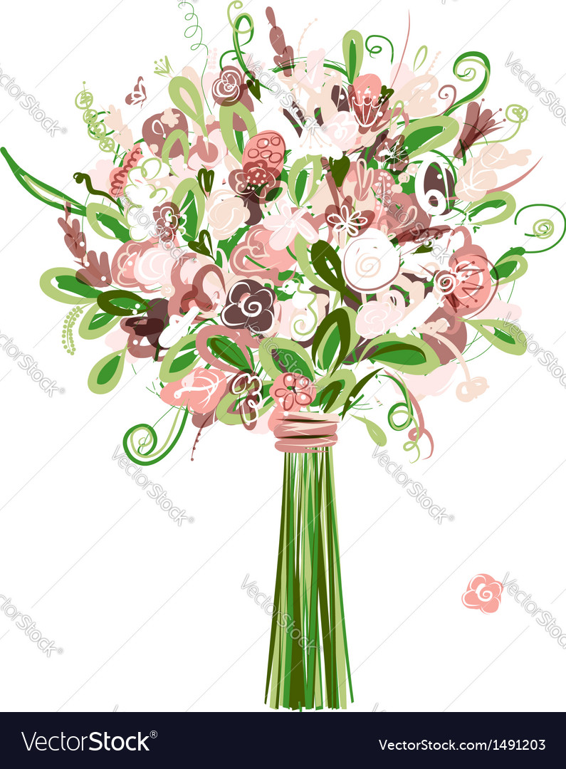 Wedding bouquet floral for your design vector | Price: 1 Credit (USD $1)