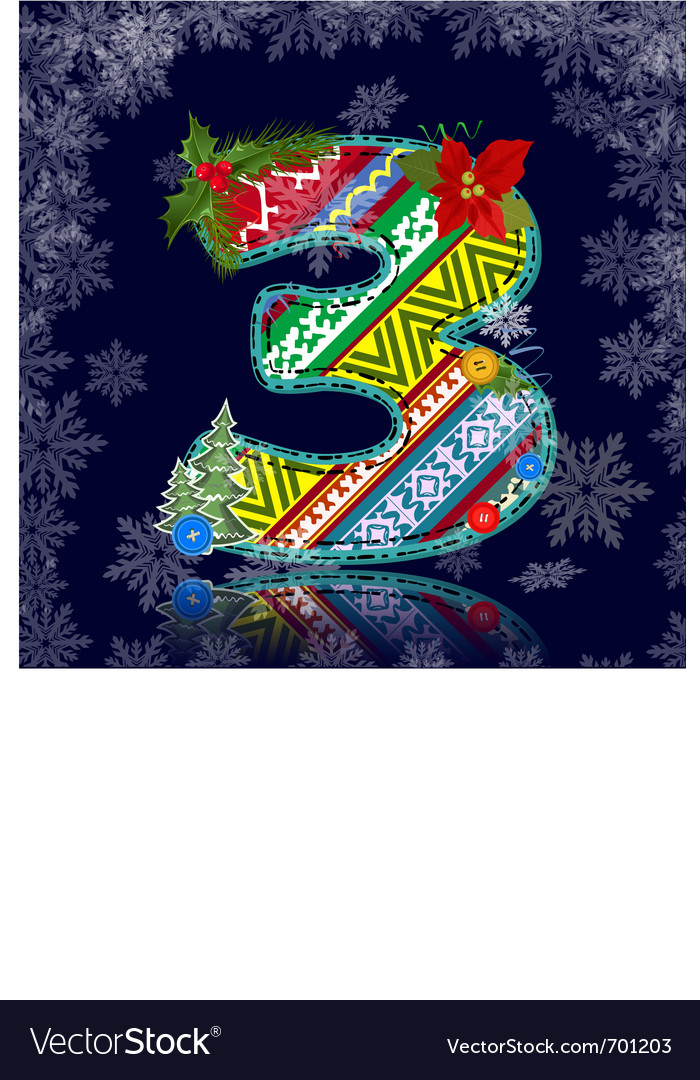 Winter number letter with an ornament vector | Price: 1 Credit (USD $1)