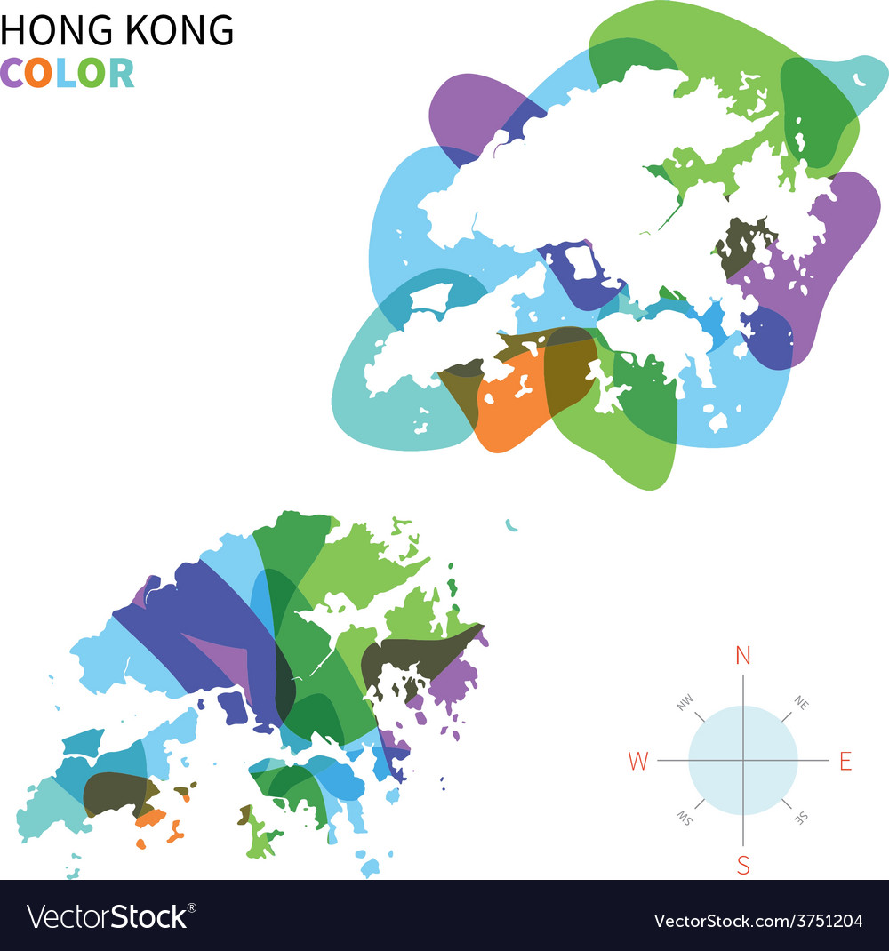 Abstract color map of hong kong vector | Price: 1 Credit (USD $1)