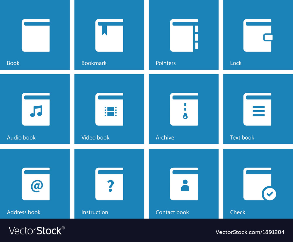 Book icons on blue background vector | Price: 1 Credit (USD $1)