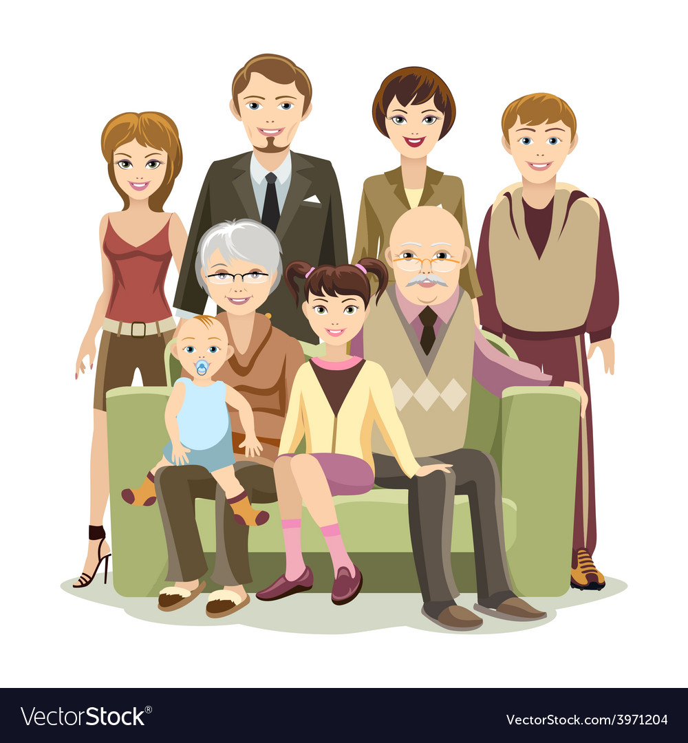Cartooned big happy family at the sofa vector | Price: 1 Credit (USD $1)