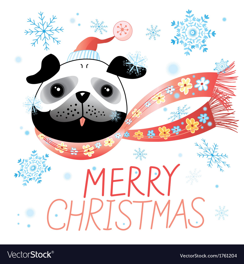 Christmas card with pug vector | Price: 1 Credit (USD $1)