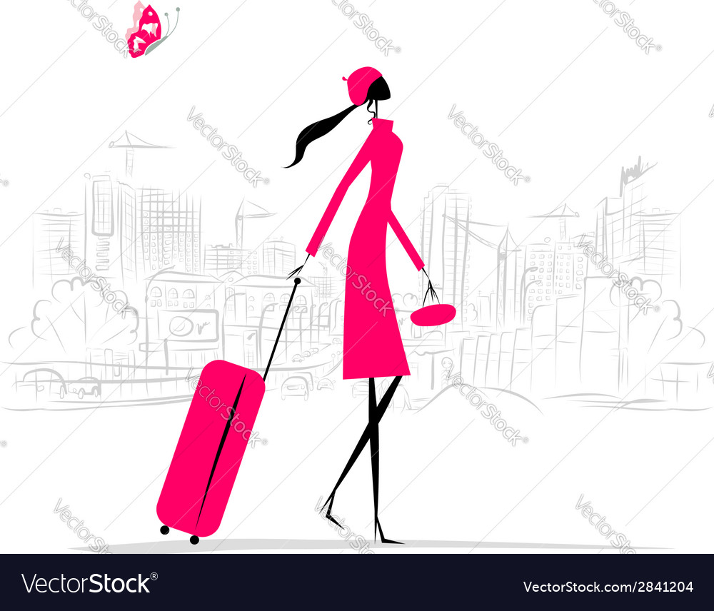 Fashion woman with suitcase cityscape background vector | Price: 1 Credit (USD $1)