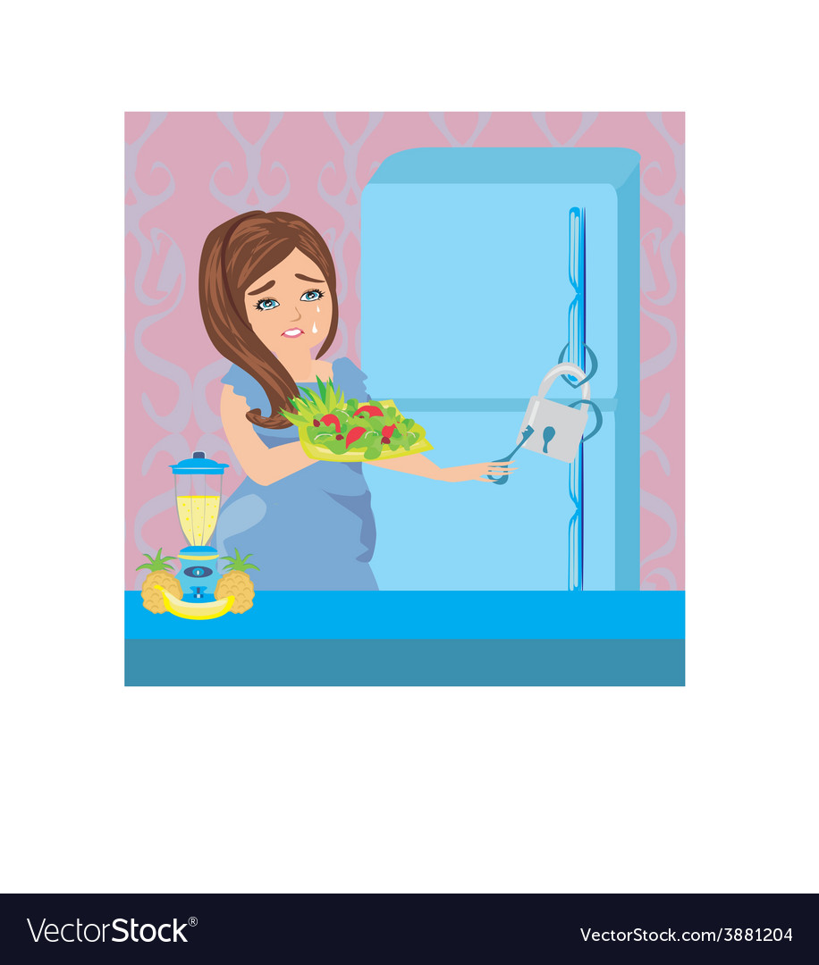 Girl on a diet - refrigerator with chain and lock vector | Price: 1 Credit (USD $1)