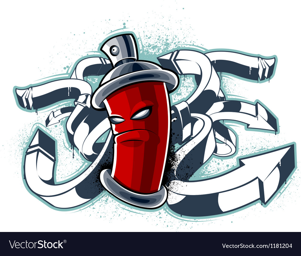Graffiti image of can with arrows vector | Price: 1 Credit (USD $1)