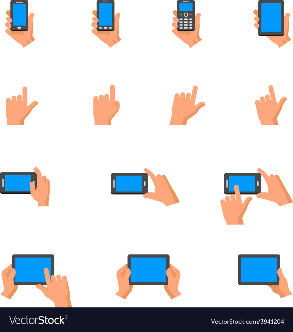 Hand touching screen icons vector | Price: 1 Credit (USD $1)