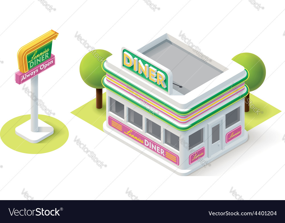Isometric diner vector | Price: 3 Credit (USD $3)