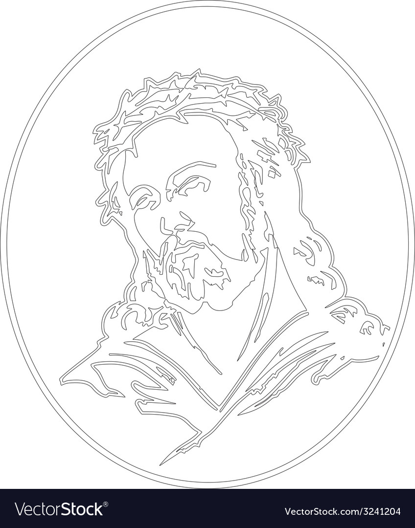 Jesus with crown of thorns vector | Price: 1 Credit (USD $1)