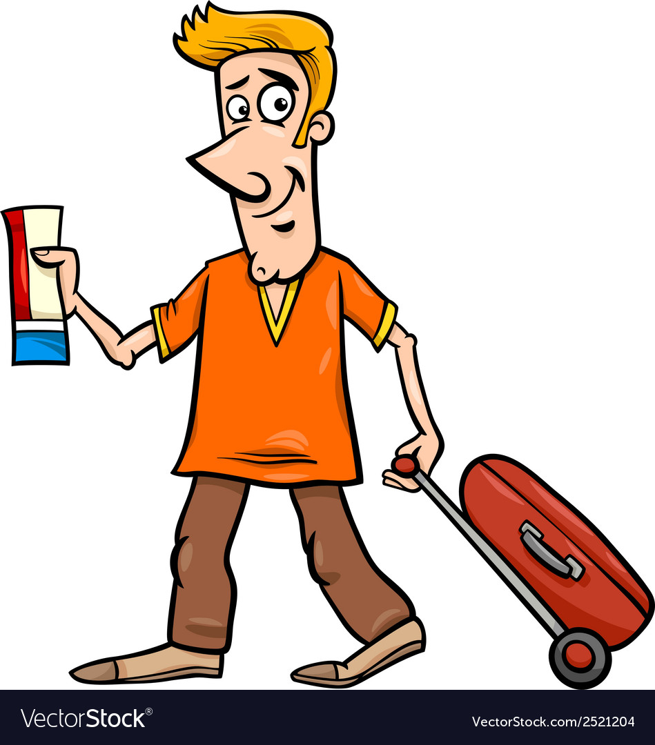 Man with flight ticket cartoon vector | Price: 1 Credit (USD $1)