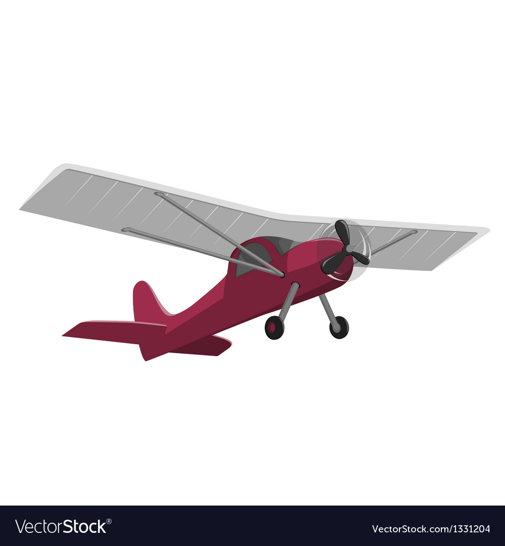 Red airplane isolated on white background vector | Price: 1 Credit (USD $1)