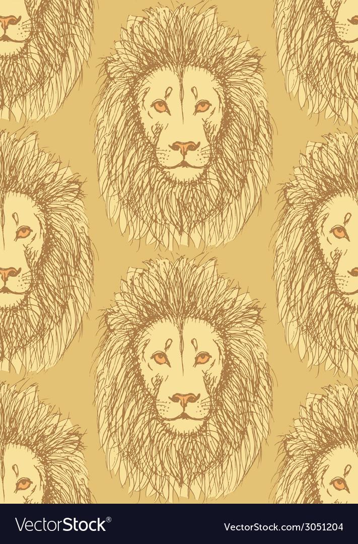 Sketch cute lion in vintage style vector   Price: 1 Credit (USD $1)