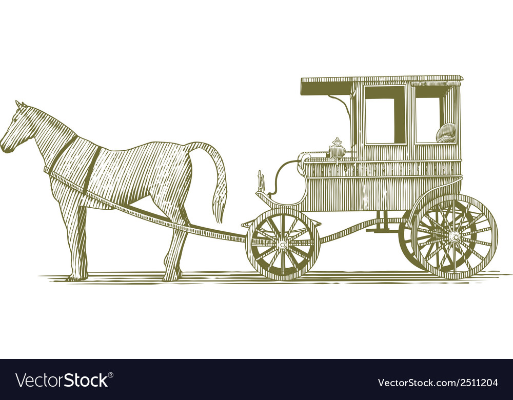 Woodcut horse and buggy vector | Price: 1 Credit (USD $1)