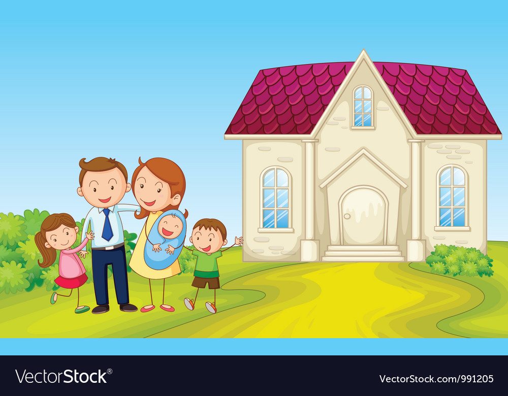 Cartoon family house vector | Price: 1 Credit (USD $1)