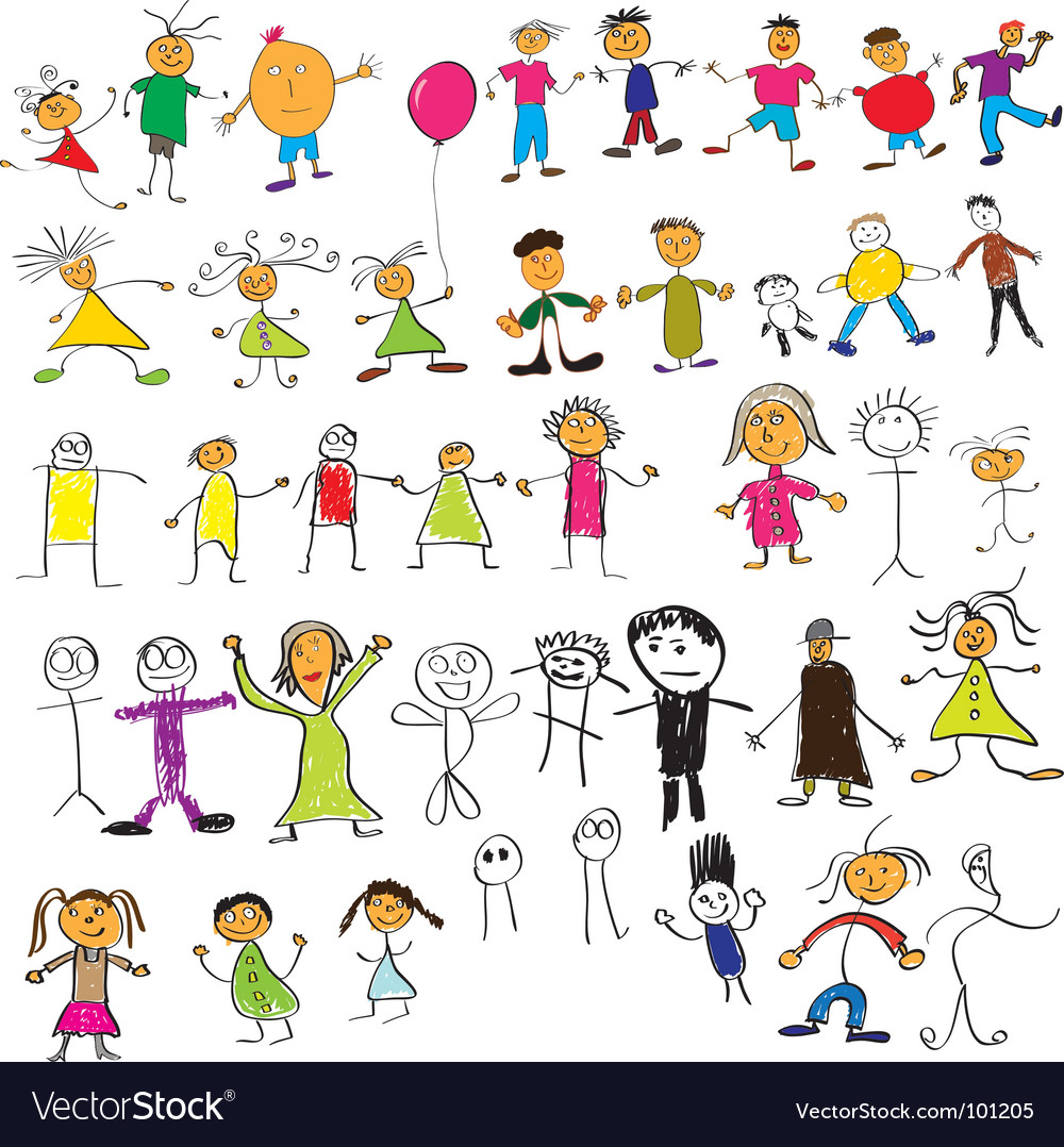 Child like drawings vector | Price: 1 Credit (USD $1)