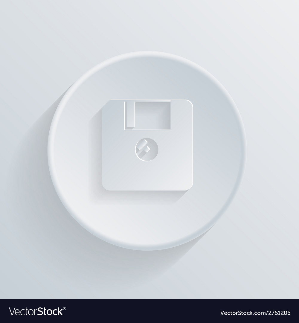 Circle icon with a shadow floppy diskette vector | Price: 1 Credit (USD $1)
