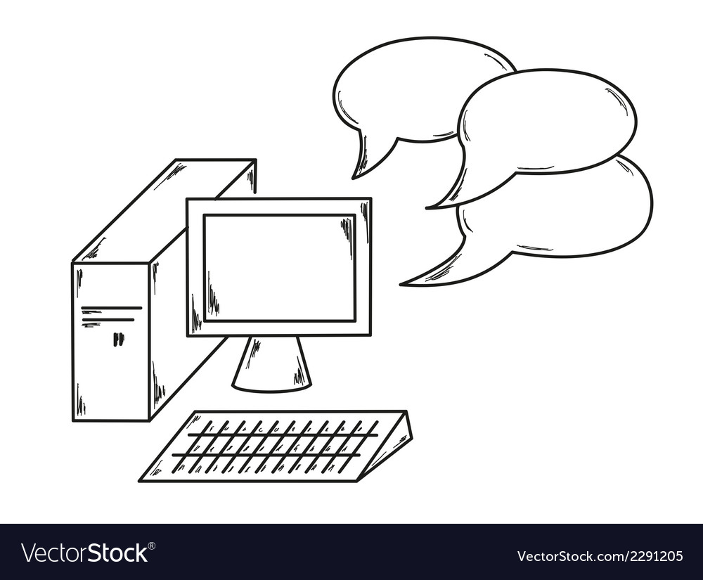 Computer and speak bubble vector | Price: 1 Credit (USD $1)