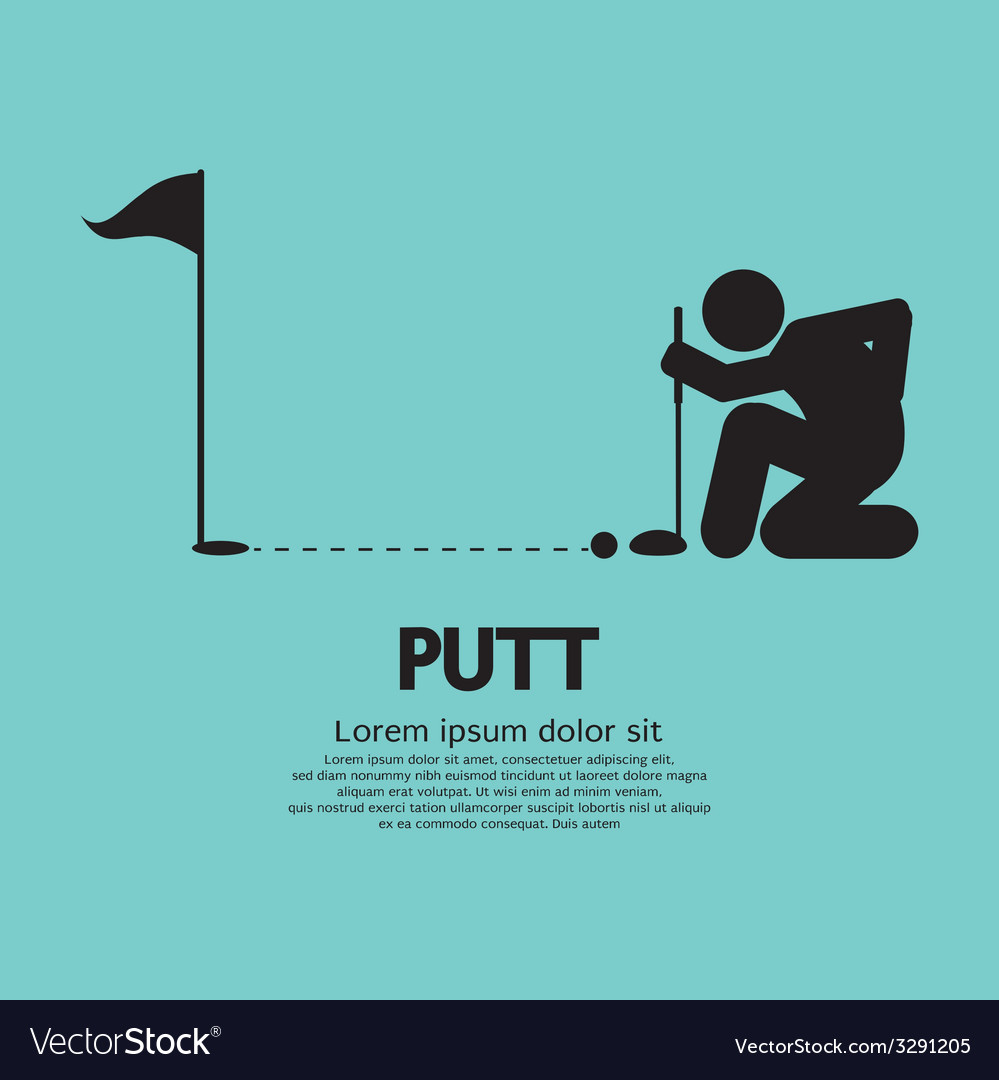 Golfer lines up putt symbol vector | Price: 1 Credit (USD $1)