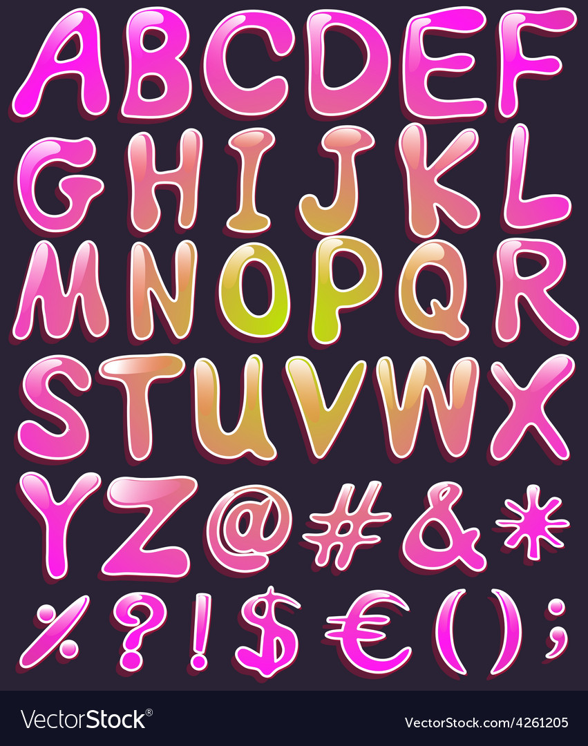 Letters of the alphabet in pink color vector | Price: 1 Credit (USD $1)