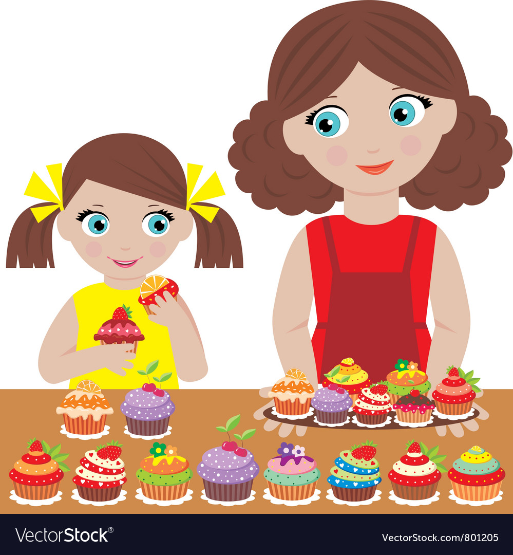 Mother and daughter bake cupcakes vector | Price: 3 Credit (USD $3)