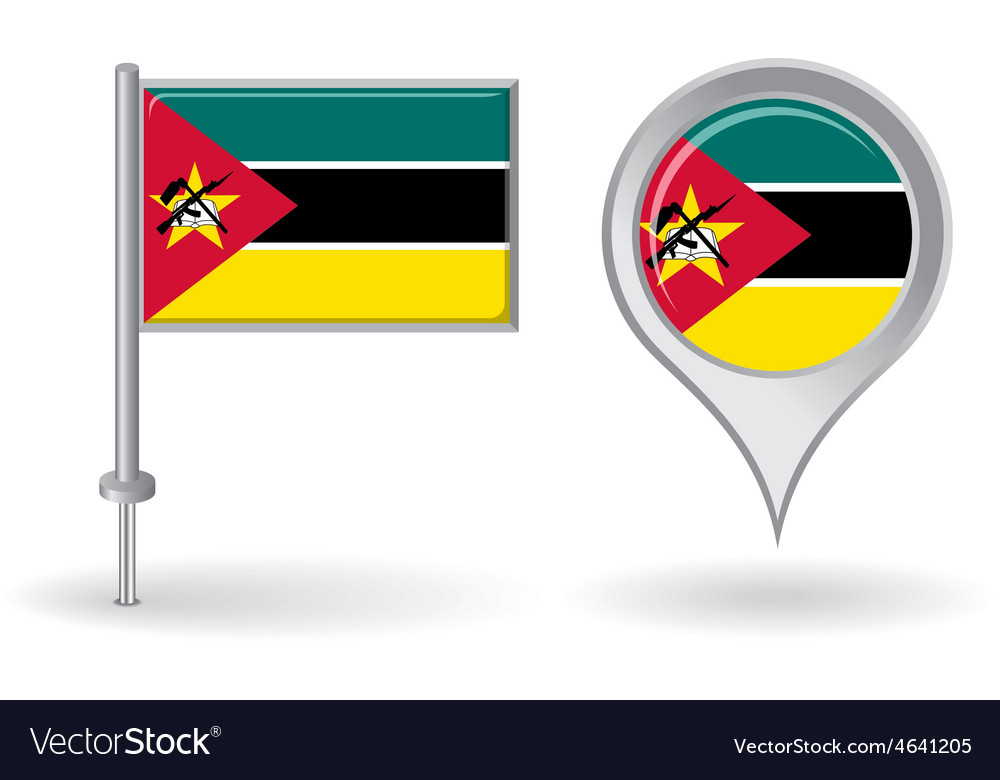 Mozambique pin icon and map pointer flag vector | Price: 1 Credit (USD $1)