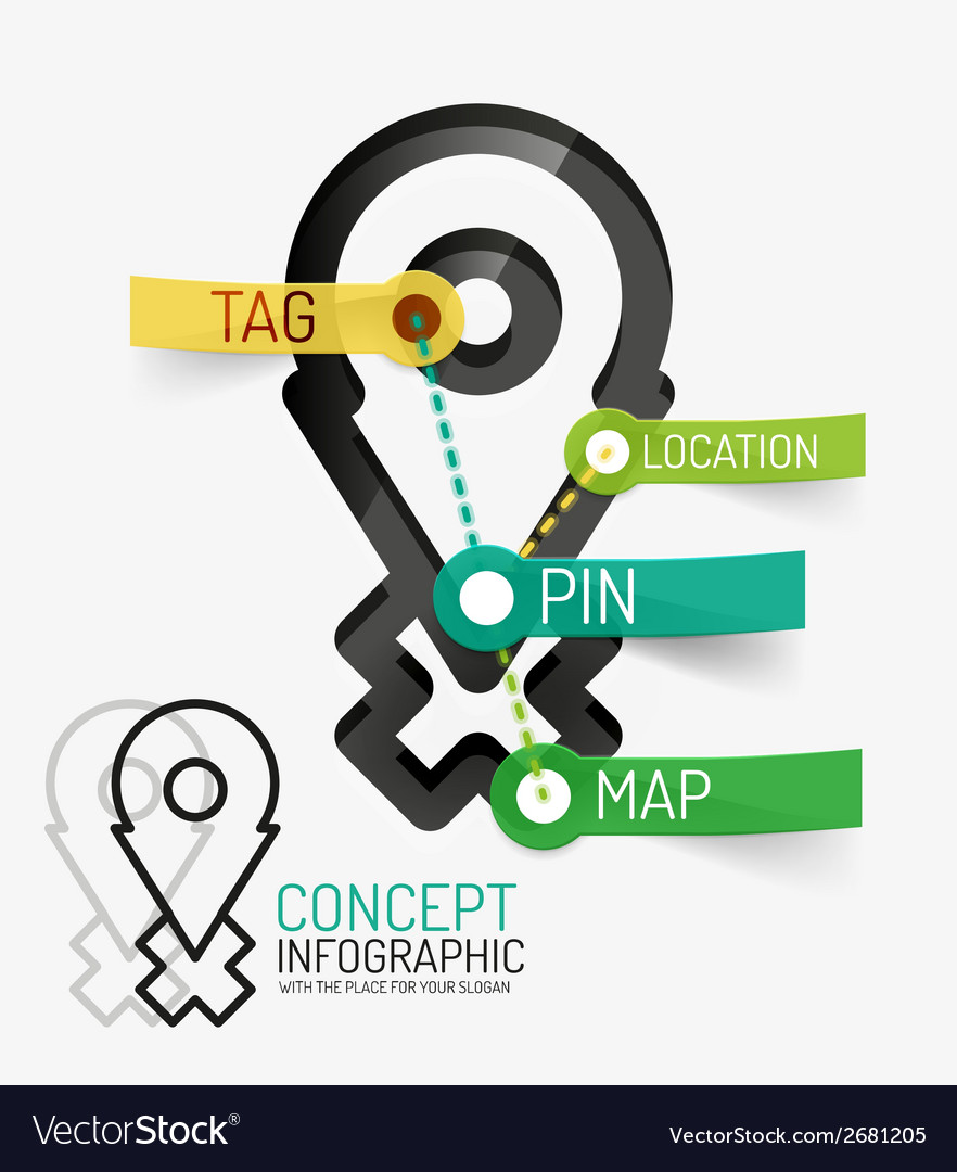 Navigation infographic keywords line style vector | Price: 1 Credit (USD $1)