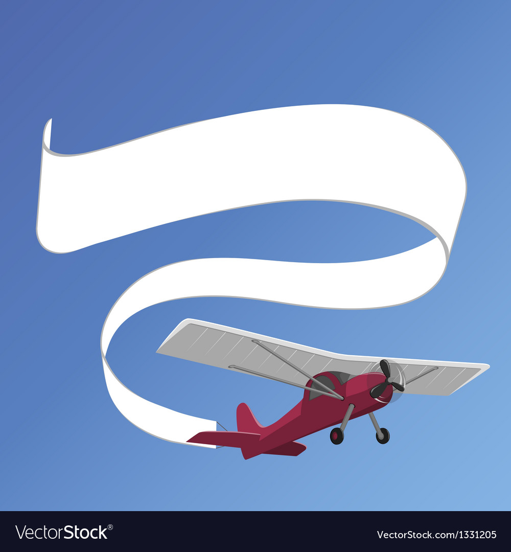 Plane pulling white banner vector | Price: 1 Credit (USD $1)