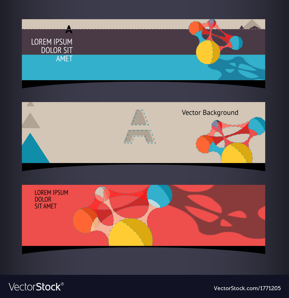 Set of horizontal banners headers editable design vector | Price: 1 Credit (USD $1)