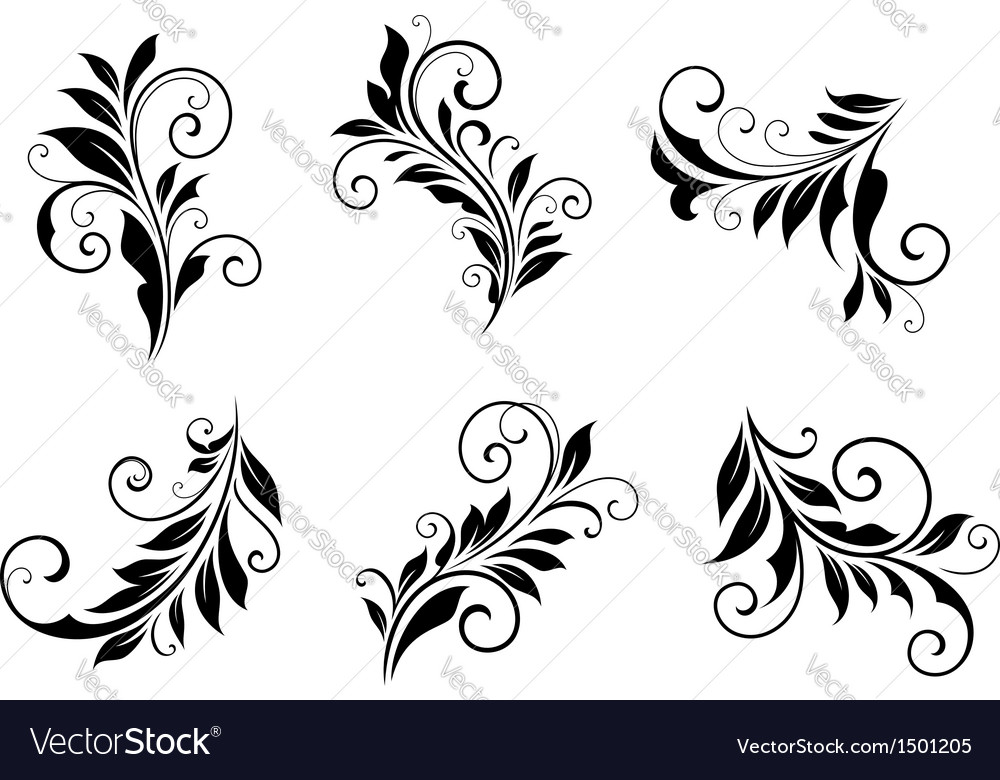 Set of vintage floral elements vector | Price: 1 Credit (USD $1)