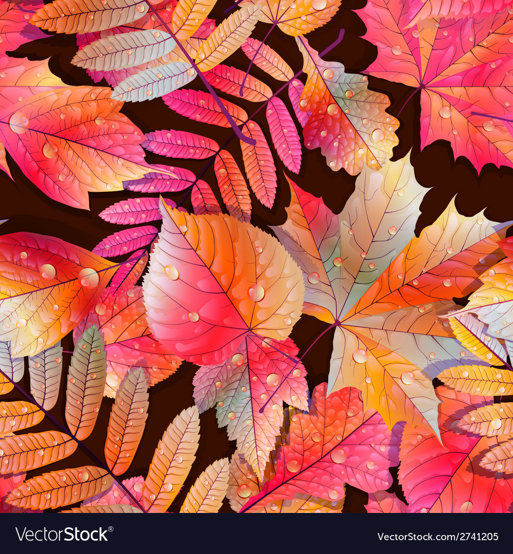 Swatch ready detailed seamless wet leaves vector   Price: 1 Credit (USD $1)