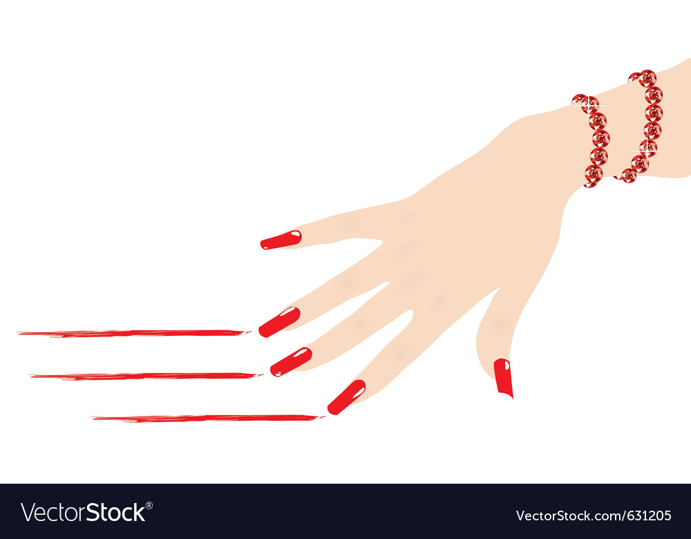 Woman hand with ruby bracelet scratching red lines vector | Price: 1 Credit (USD $1)