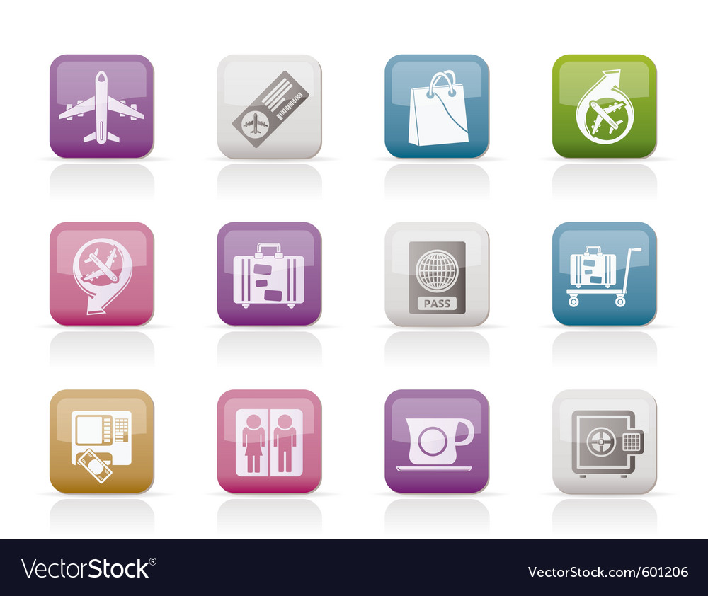 Airport and transportation icons 1 vector | Price: 1 Credit (USD $1)