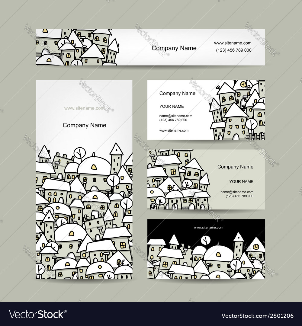 Business cards design winter cityscape sketch vector | Price: 1 Credit (USD $1)