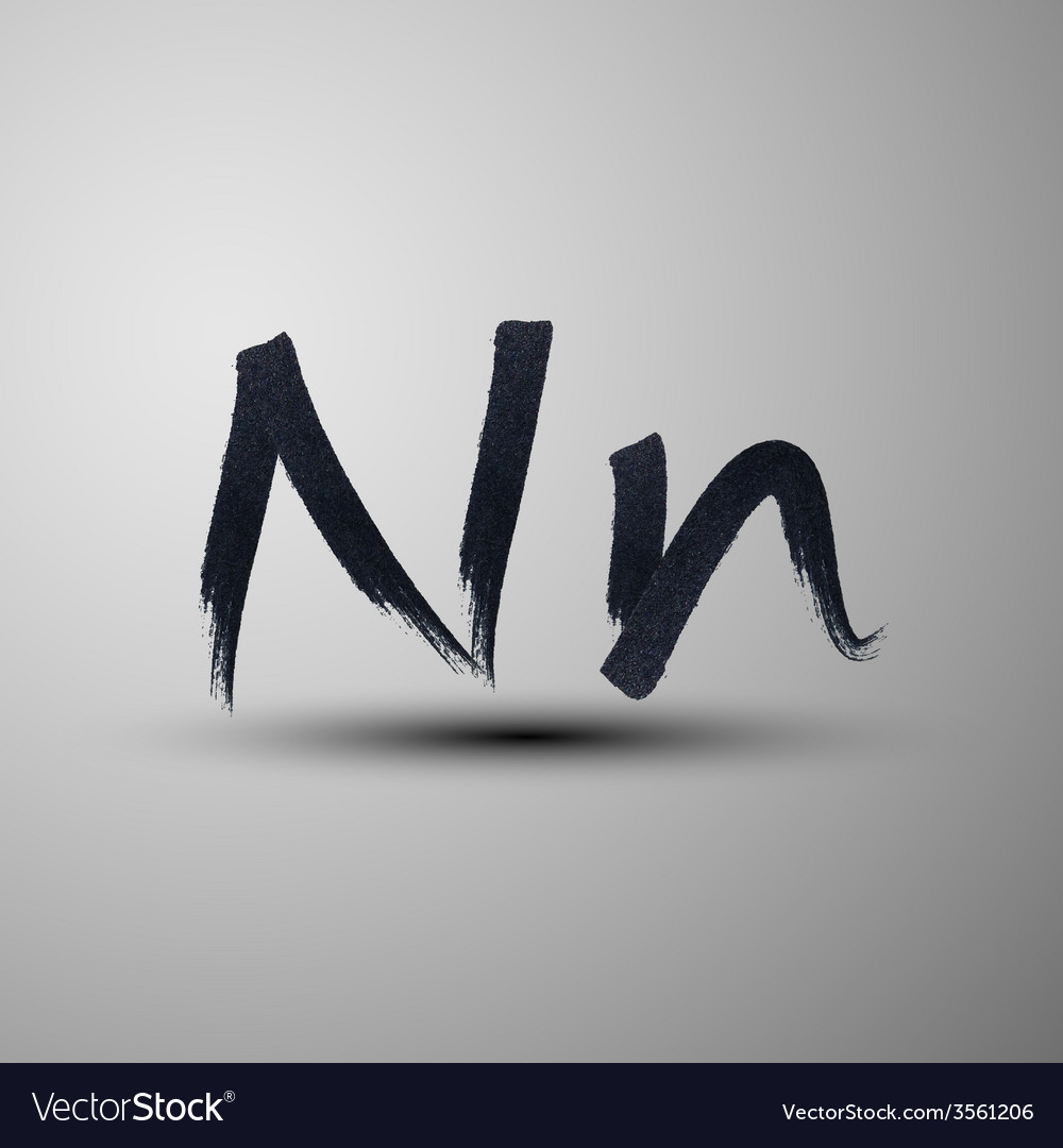 Calligraphic hand-drawn marker or ink letter n vector | Price: 1 Credit (USD $1)