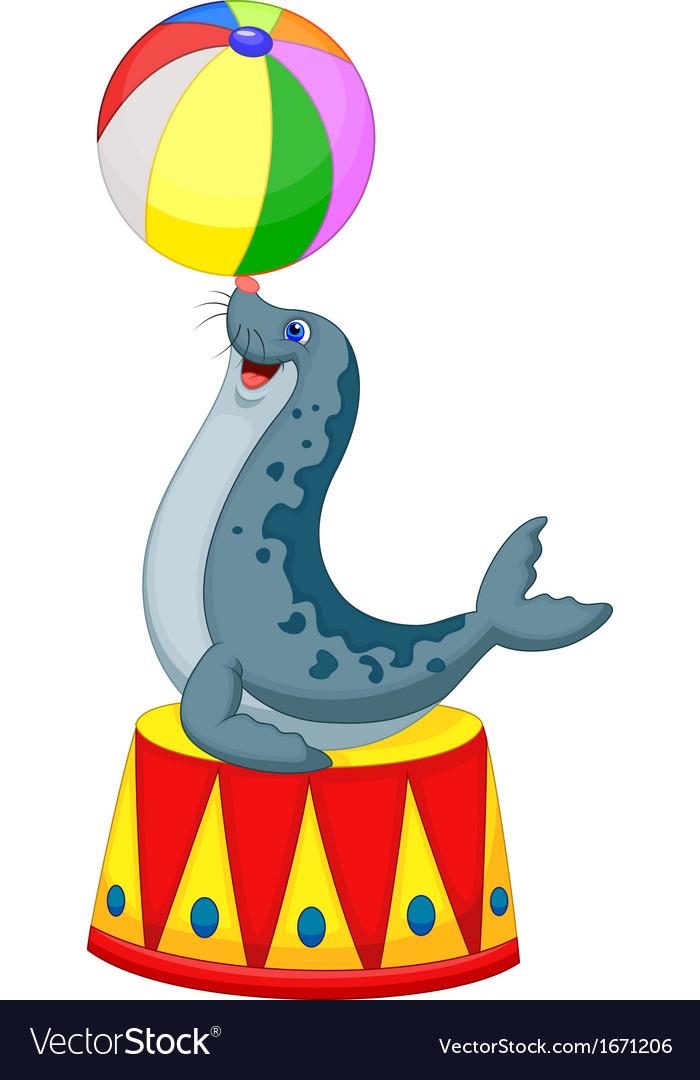 Cartoon circus seal playing a ball vector | Price: 1 Credit (USD $1)